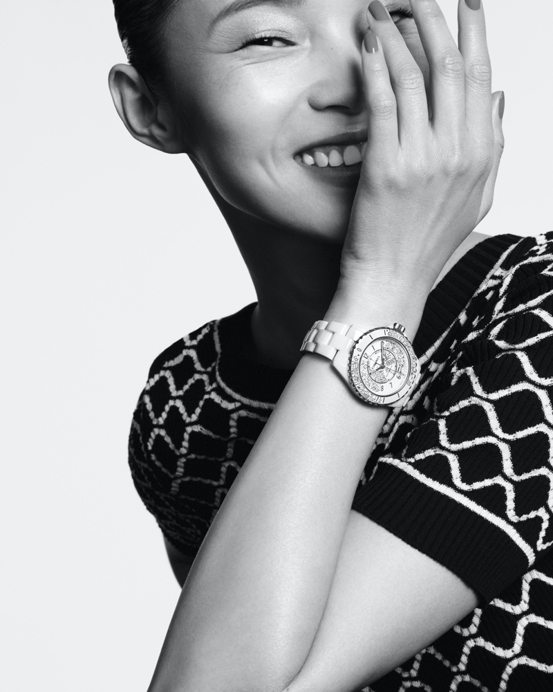 Xiao Wen Ju is all smiles in Chanel J12 Watch summer 2020 campaign.