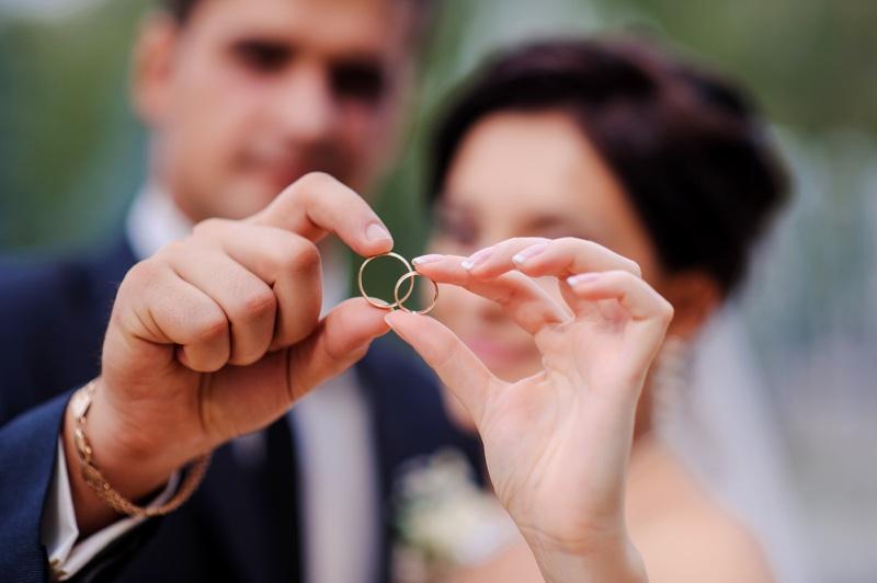 Closeup Couple Wedding Rings