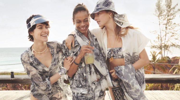 Natalie Ludwig, Aaliyah Hydes and Ilona Desmet star in Dior Dioriviera fall 2020 campaign.