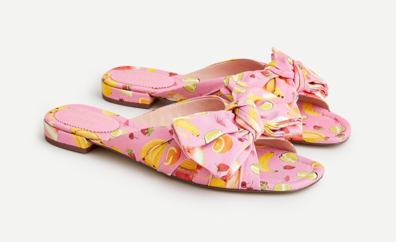 Edie Parker x J. Crew Bow Slide Sandals in Fruit Punch $138