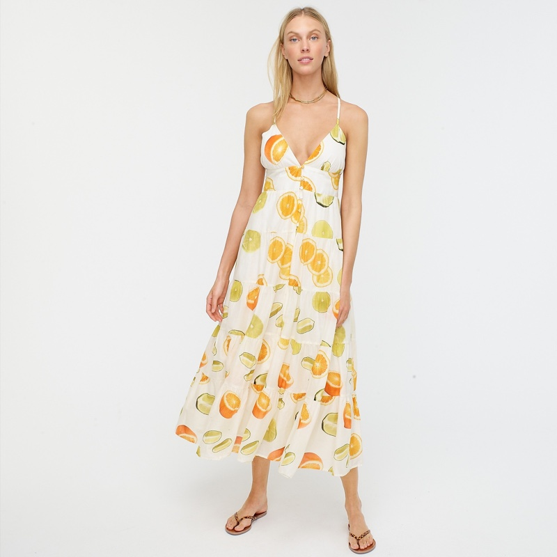 Edie Parker x J. Crew Button-Front Tiered Maxi Dress in Limes and Oranges $168