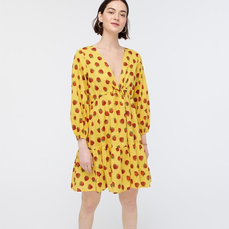 Edie Parker x J. Crew Long-Sleeve Cover-Up Dress in Strawberries $148