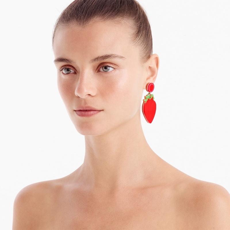 Edie Parker x J. Crew Resin Strawberry Earrings $39.50