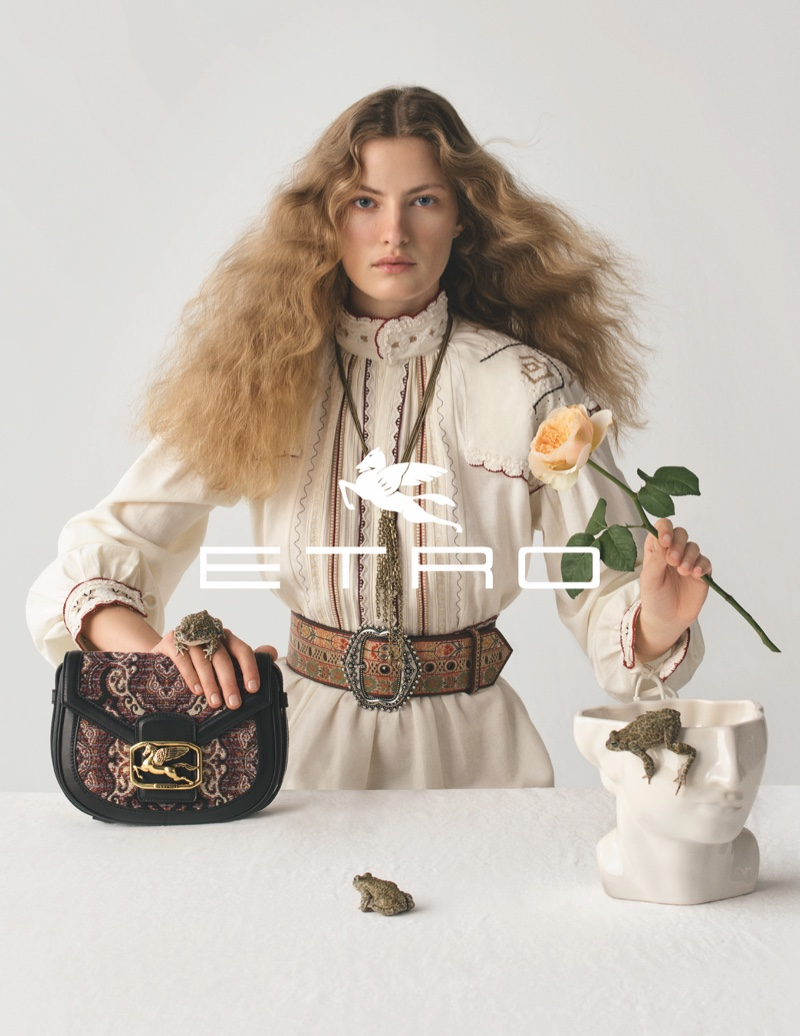 Felice Noordhoff poses in Etro fall-winter 2020 campaign.