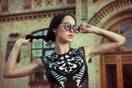 Fashion Model Sunglasses Black White Dress