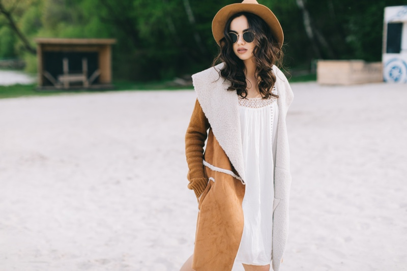 Fashion Stylish Outfit Hat Coat White Dress Sunglasses