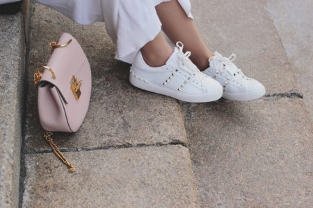 Fashionable Studded Sneakers Pink Handbag