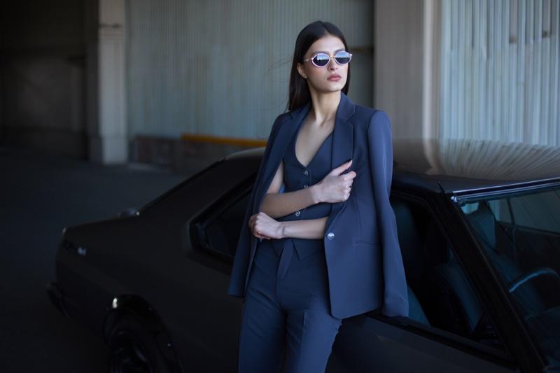 Female Model Wearing Blue Pantsuit