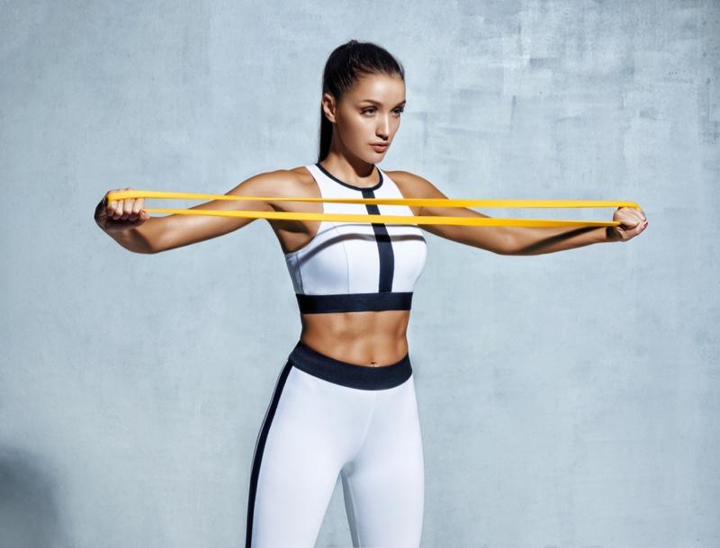 Fitness Model Activewear Resistance Bands