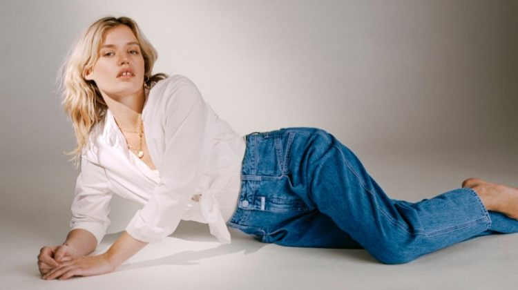 Model Georgia May Jagger poses in high-waisted jeans for Closed fall-winter 2020 campaign.