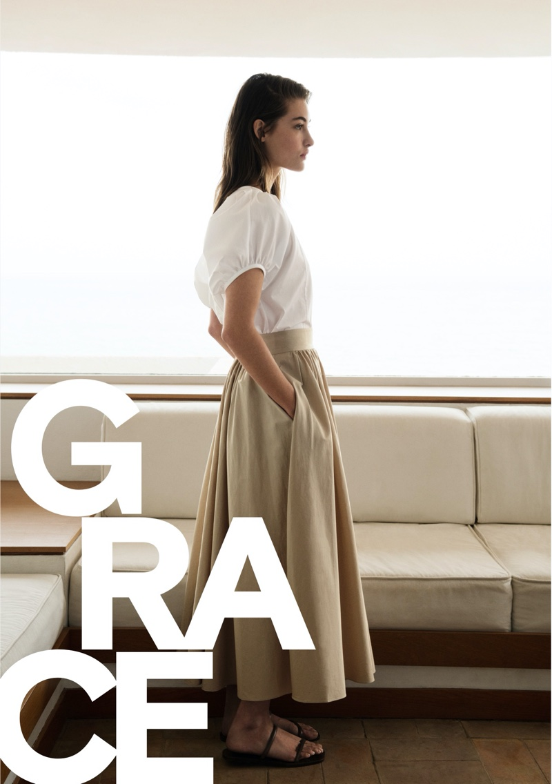 Grace Elizabeth stars in Massimo Dutti poplin summer 2020 style guide.