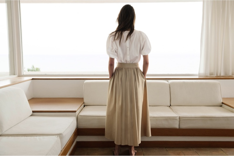 Massimo Dutti Puff Sleeve Top, Skirt Featuring Gathered Poplin and Double-Strap Flat Sandals.