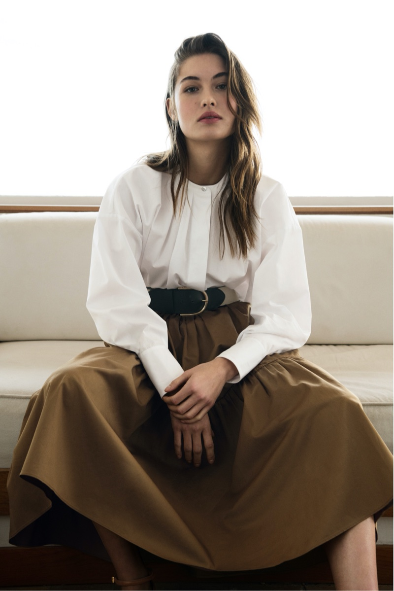 Grace Elizabeth models Massimo Dutti cotton shirt with cuff buttons and uneven poplin seamed skirt.