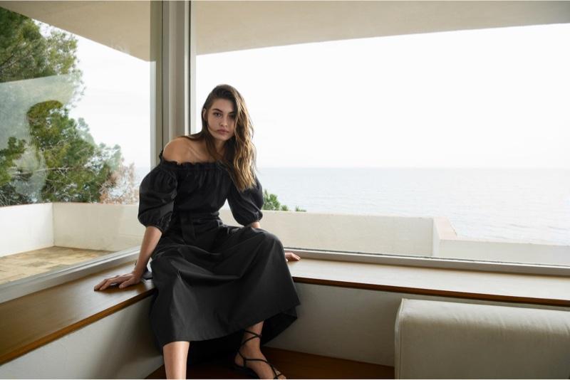 Model Grace Elizabeth poses in Massimo Dutti's summer 2020 designs.