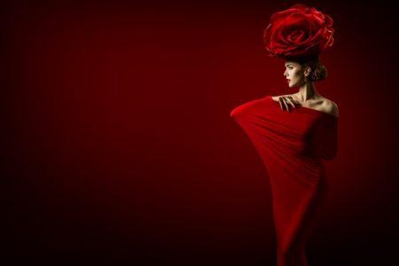 High Fashion Model Red Drape Flower Headpiece