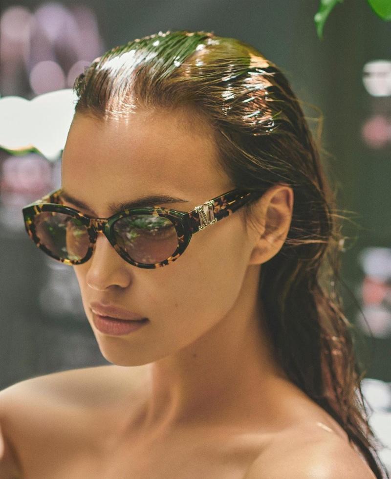 Max Mara taps Irina Shayk for summer 2020 sunglasses campaign.