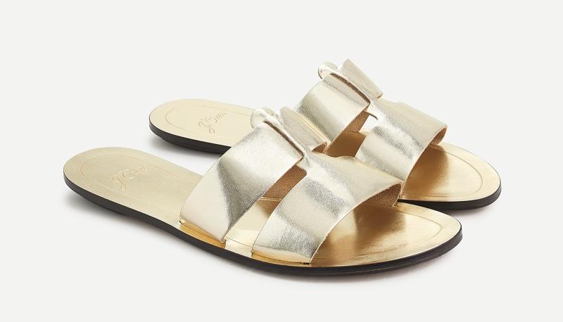 J. Crew Cyprus Sandals in Metallic Gold $89.50