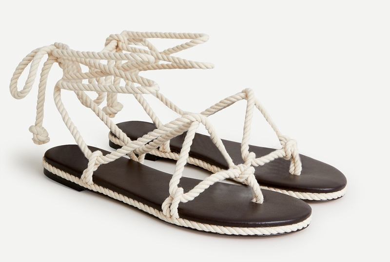 J. Crew Rope Lace-Up Flat Sandals in Natural $138