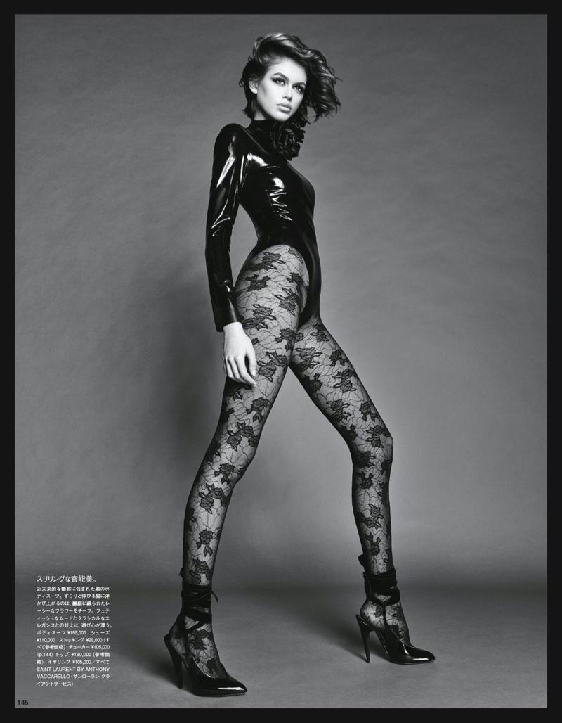 Kaia Gerber Poses in Saint Laurent Looks for Vogue Japan