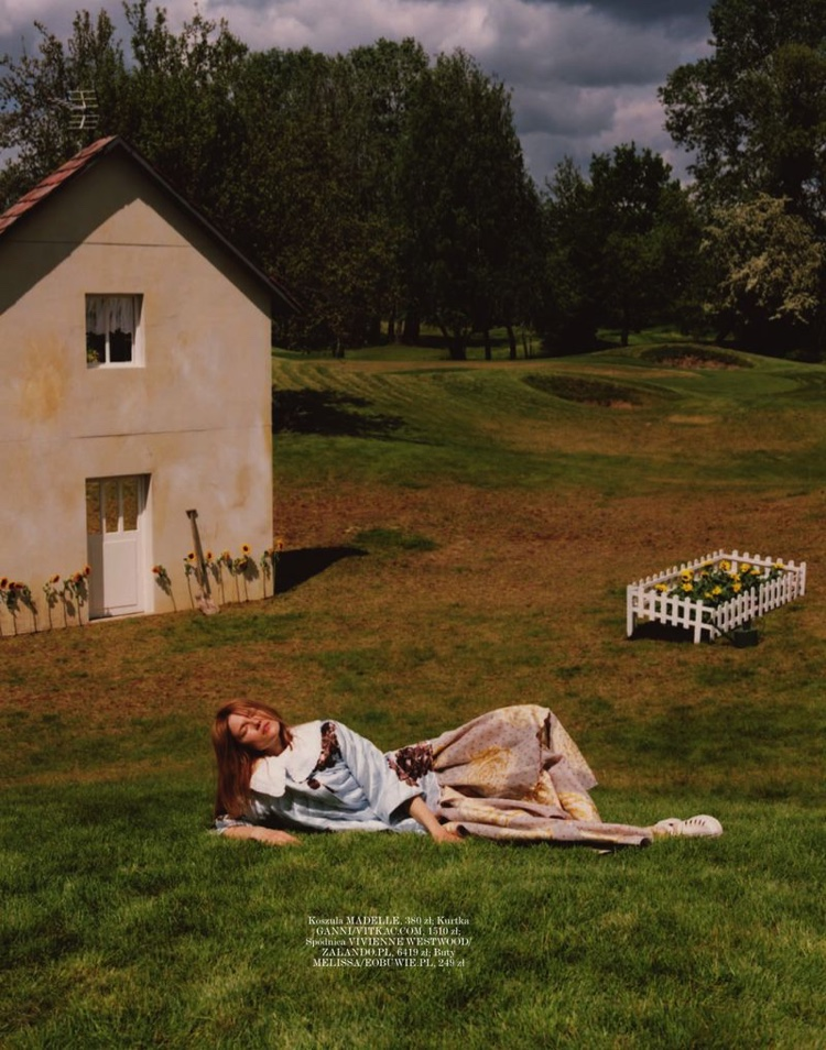 Kasia Struss Wears Whimsical Outdoor Looks for Vogue Poland