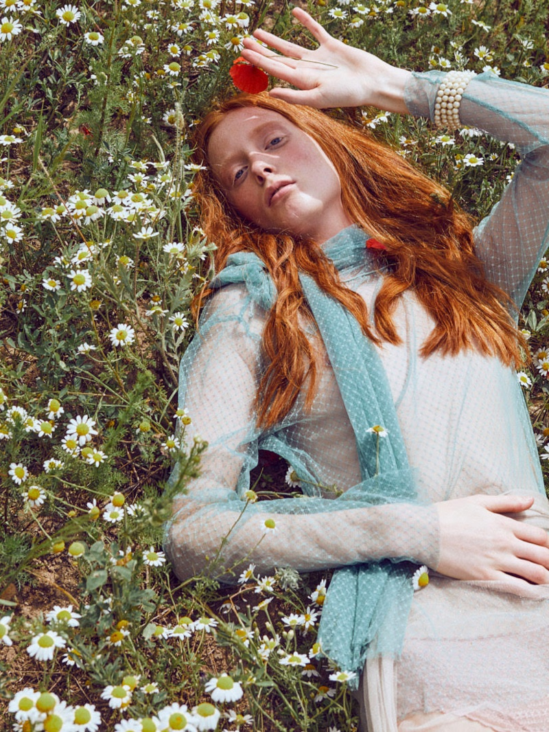 Laura Roth Poses Outdoors in Dreamy Looks for Vogue Ukraine