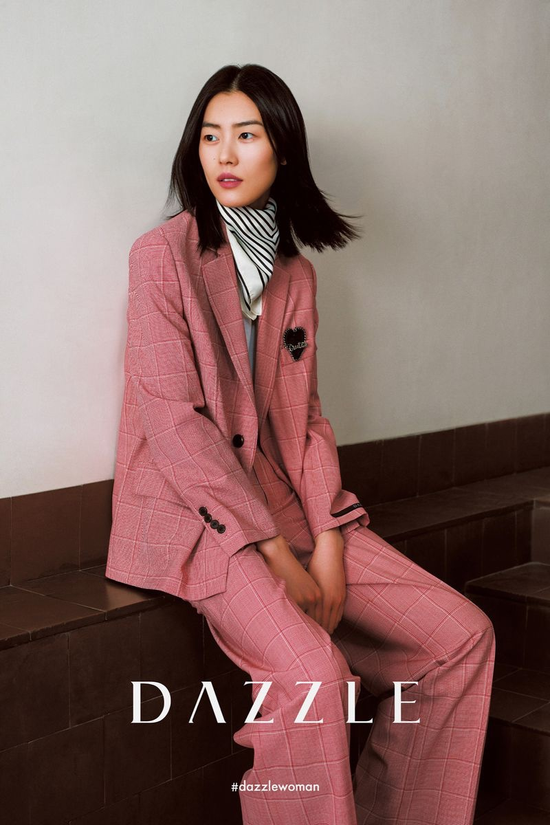 Suiting up, Liu Wen fronts Dazzle fall-winter 2020 campaign.