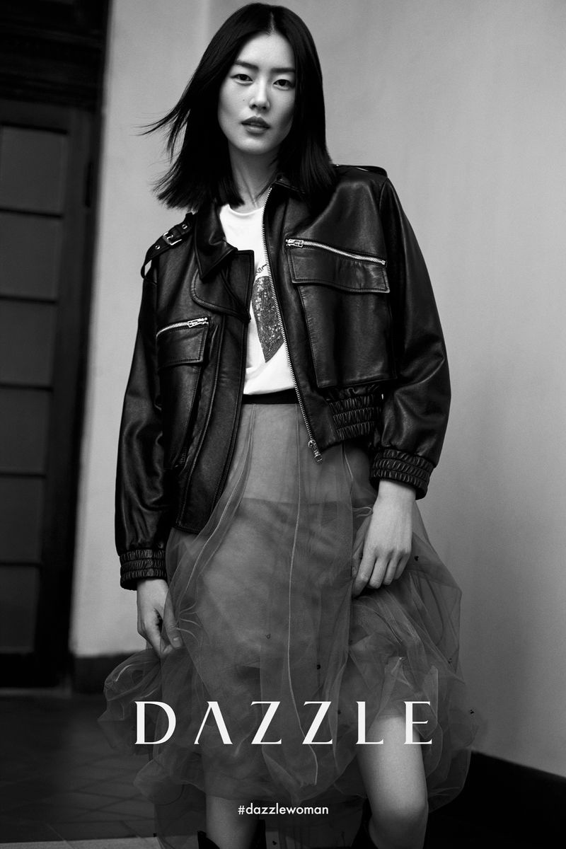 Rocking leather, Liu Wen appears in Dazzle fall-winter 2020 campaign.