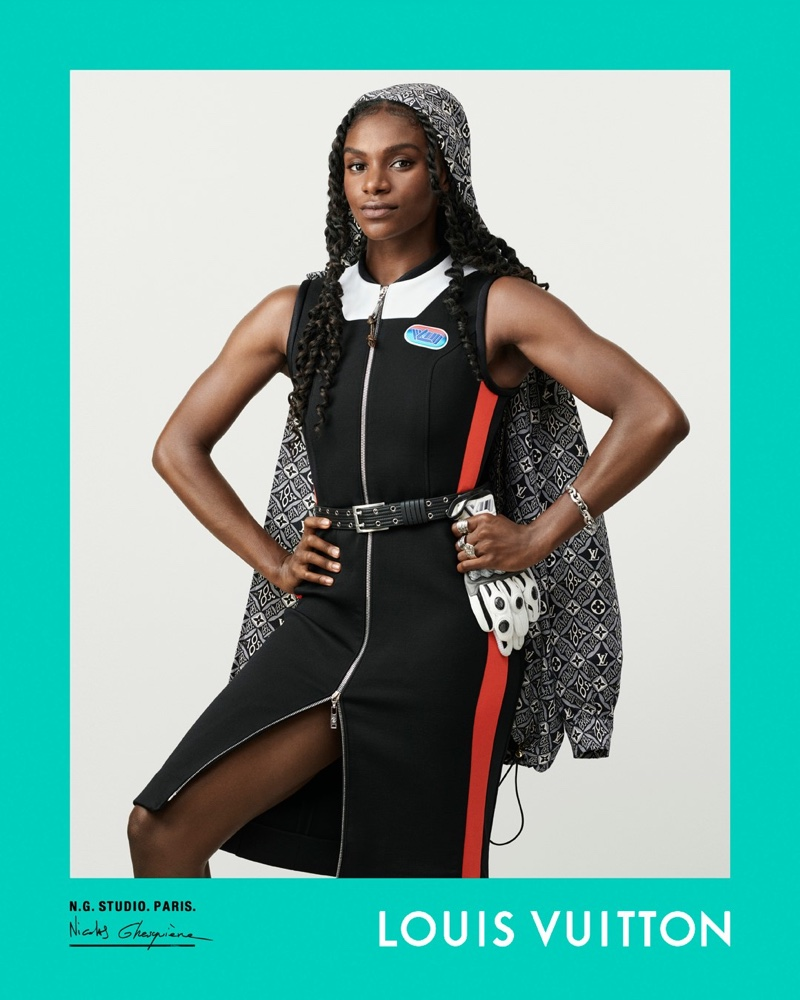 Dina Asher-Smith poses for Louis Vuitton fall-winter 2020 campaign.