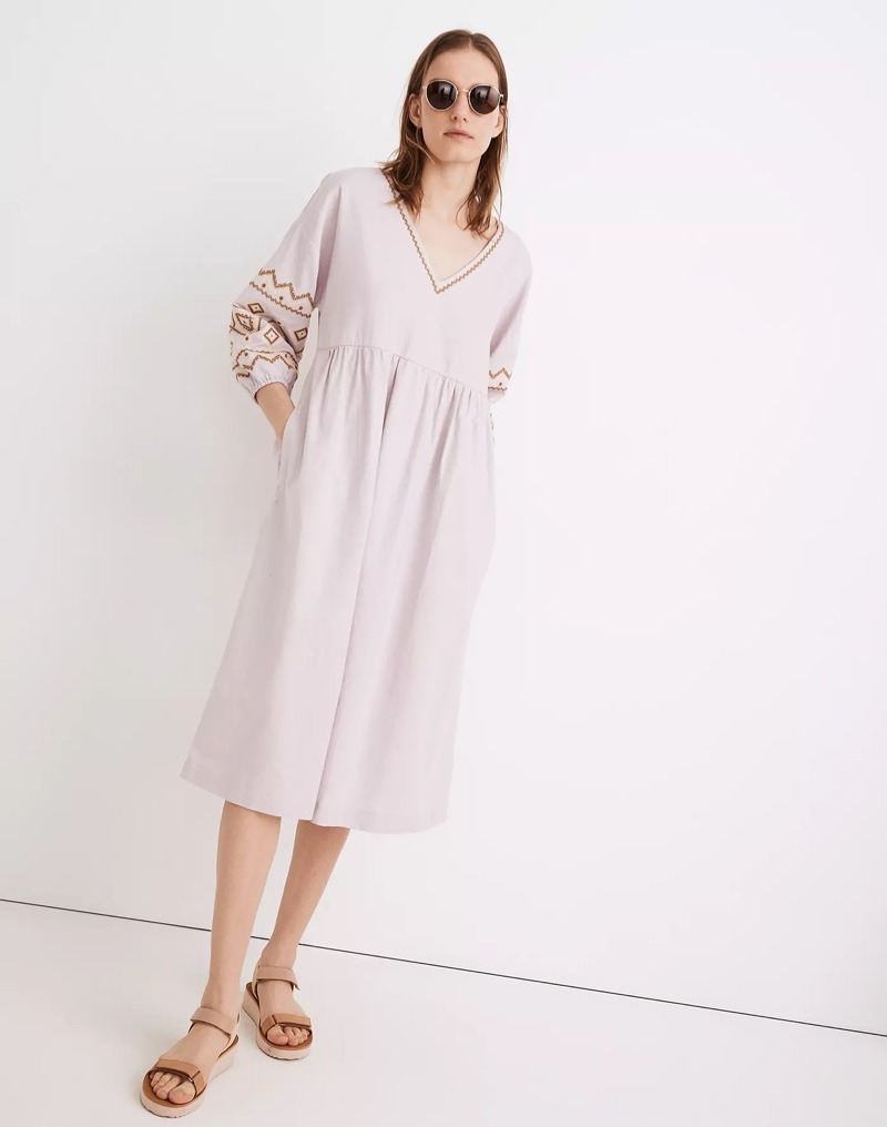 Madewell Embroidered-Sleeve Popover Midi Dress in Pale Lilac $138