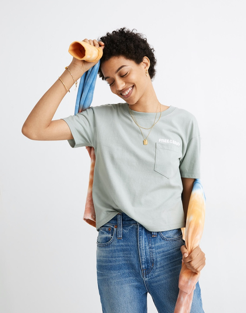 Madewell x Free & Easy Sunset Graphic Easy Crop Tee $45