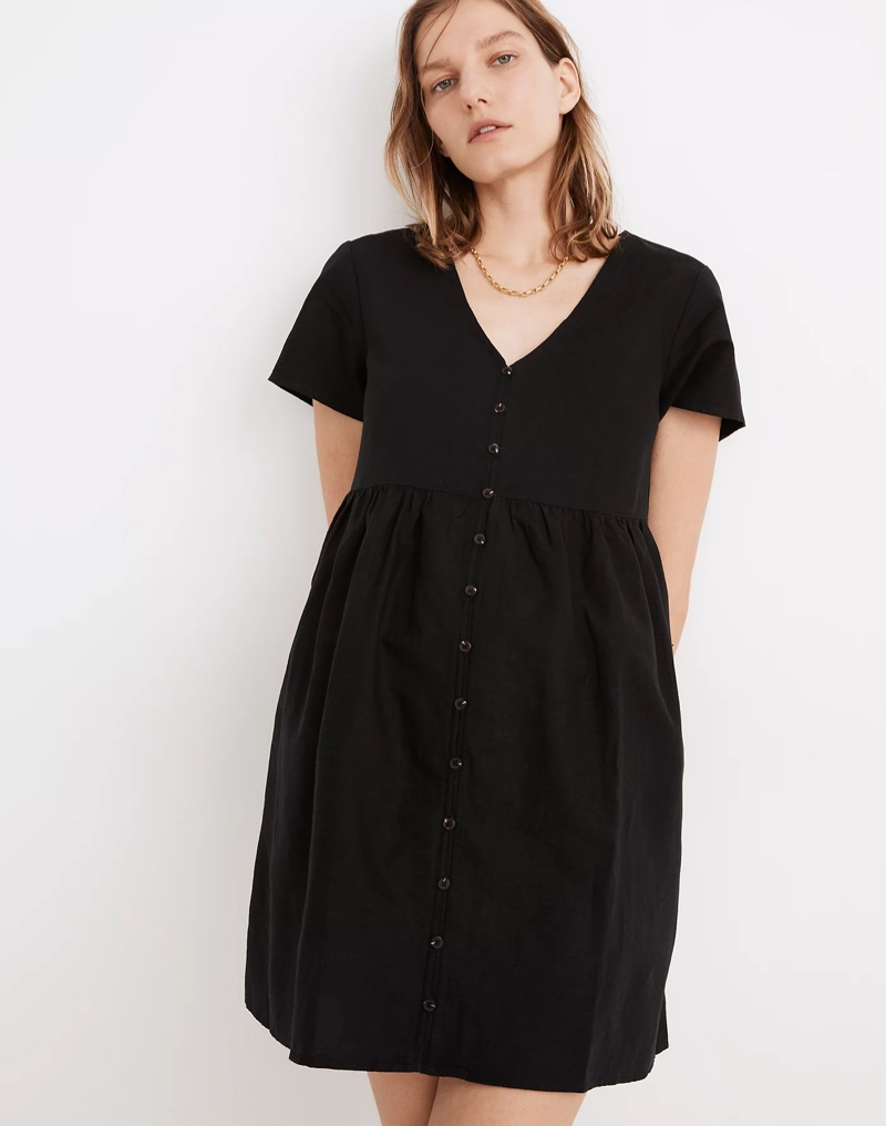 Madewell Linen-Blend Alexandra Button-Front Mini Dress in True Black $88