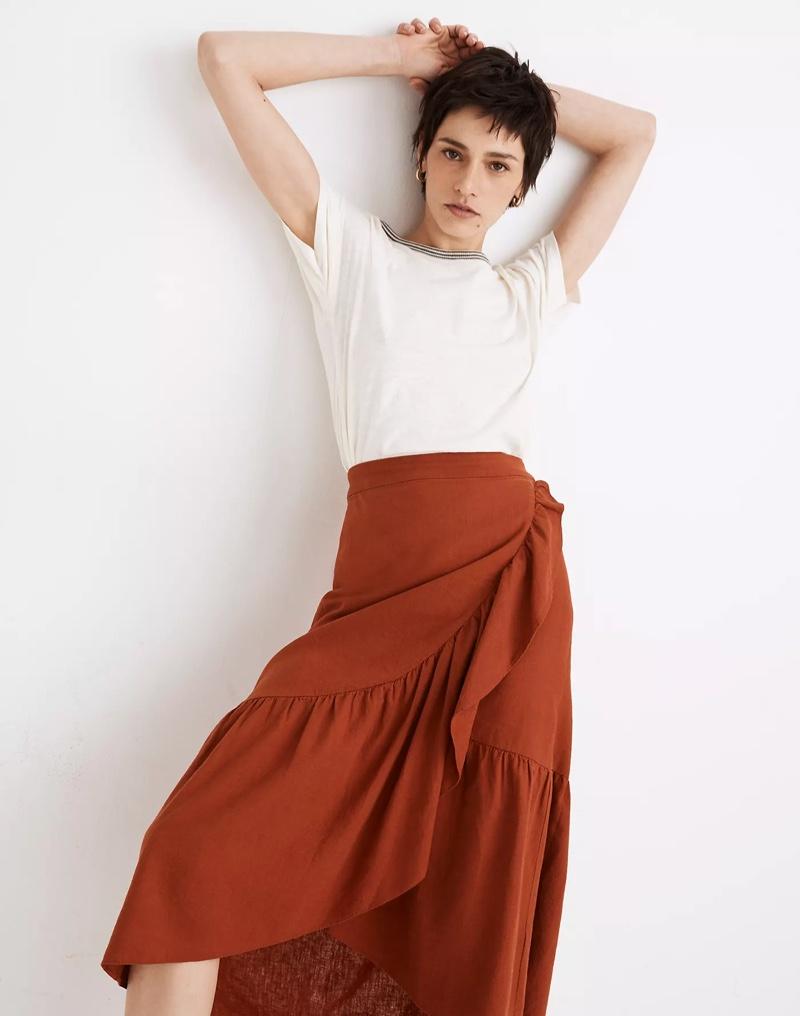 Madewell Linen-Blend Ruffle-Wrap Midi Skirt $88