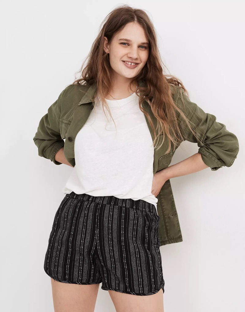 Madewell Linen-Cotton Pull-On Shorts in Jacquard Stripe $49.50
