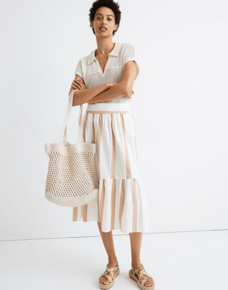 Madewell Ruffle-Hem Midi Skirt in Stripe $59.99