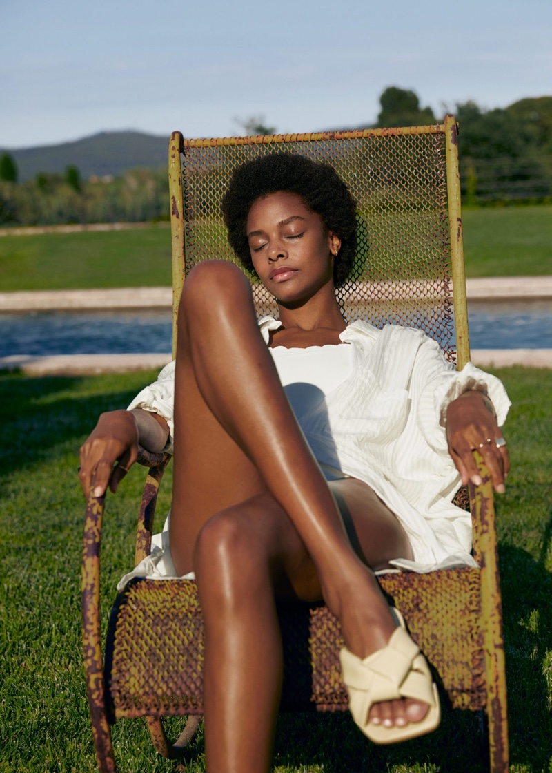 Model Karly Loyce poses in Mango Holidays of a Lifetime summer 2020 editorial.