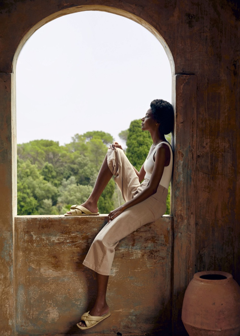 Karly Loyce poses in Mango Holidays of a Lifetime summer 2020 editorial.