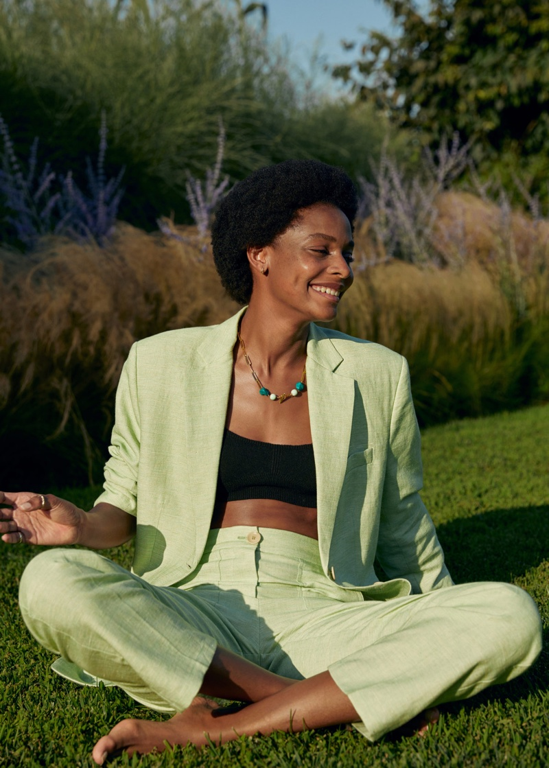 Suiting up, Karly Loyce wears Mango's holiday styles for summer 2020 season.