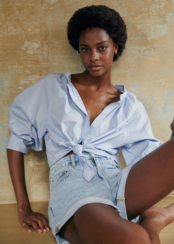 Mango Button-Up Shirt and Rolled-Up Hem Denim Shorts.