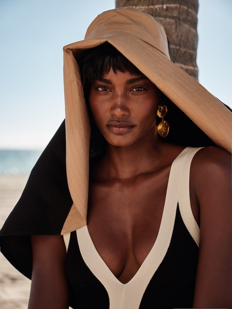 Melodie Monrose Wears Fashionable Beachwear for InStyle Germany