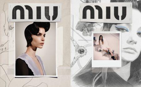 Elisa Mitrofan and Lila Moss pose for Miu Miu fall-winter 2020 campaign.