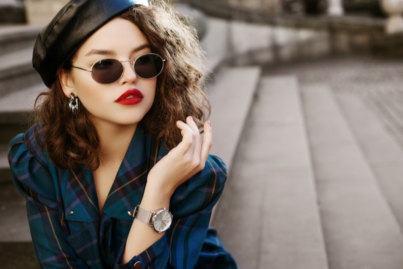 Model Leather Beret Plaid Jacket Oval Sunglasses Silver Watch