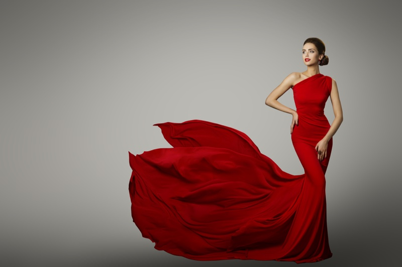 Model Red Gown Dress Glamour Fashion