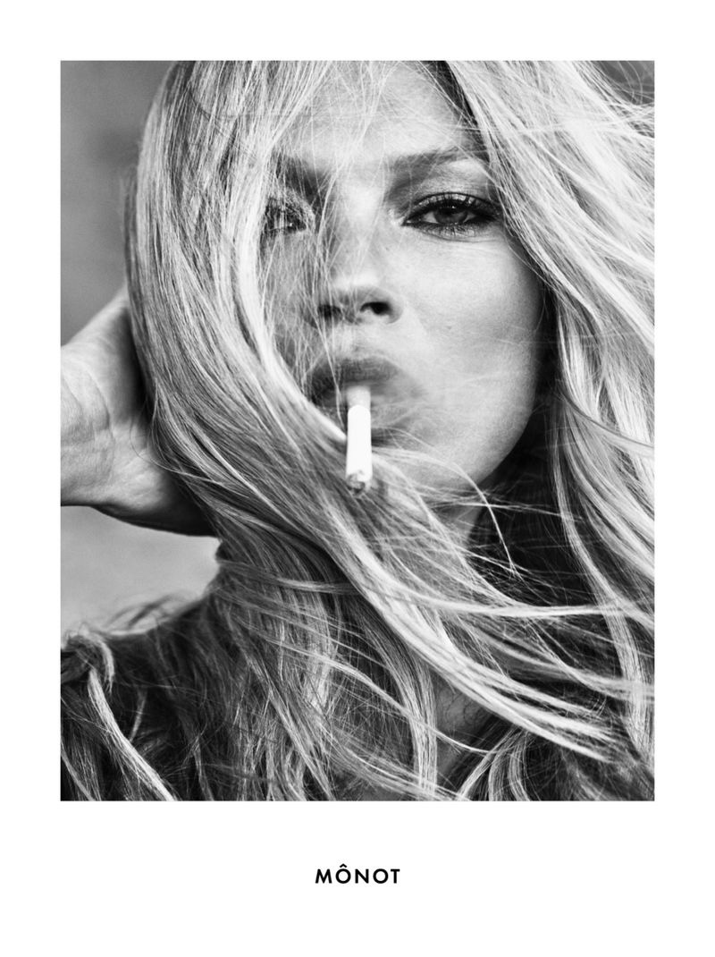 Ready for her closeup, Kate Moss appears in Mônot fall-winter 2020 campaign.