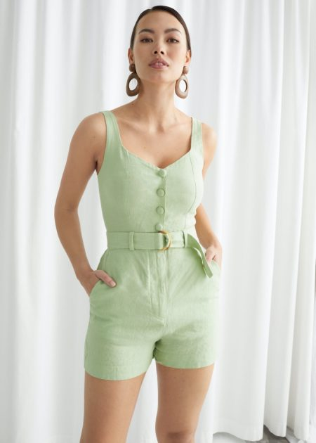 & Other Stories Belted Linen Romper $89