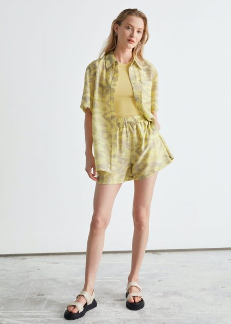 & Other Stories Boxy Button Up Shirt $89 and Floaty Shorts $69