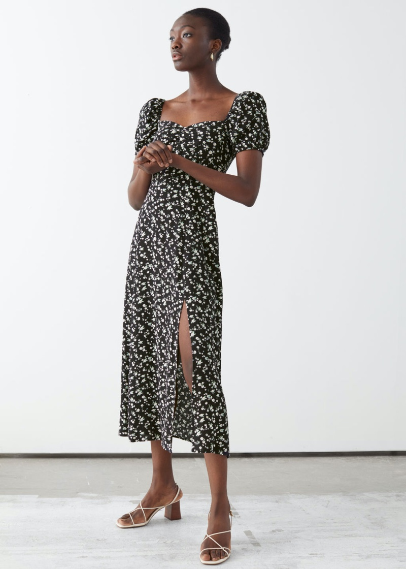 & Other Stories Flowy Puff Sleeve Midi Dress in Black Florals $119