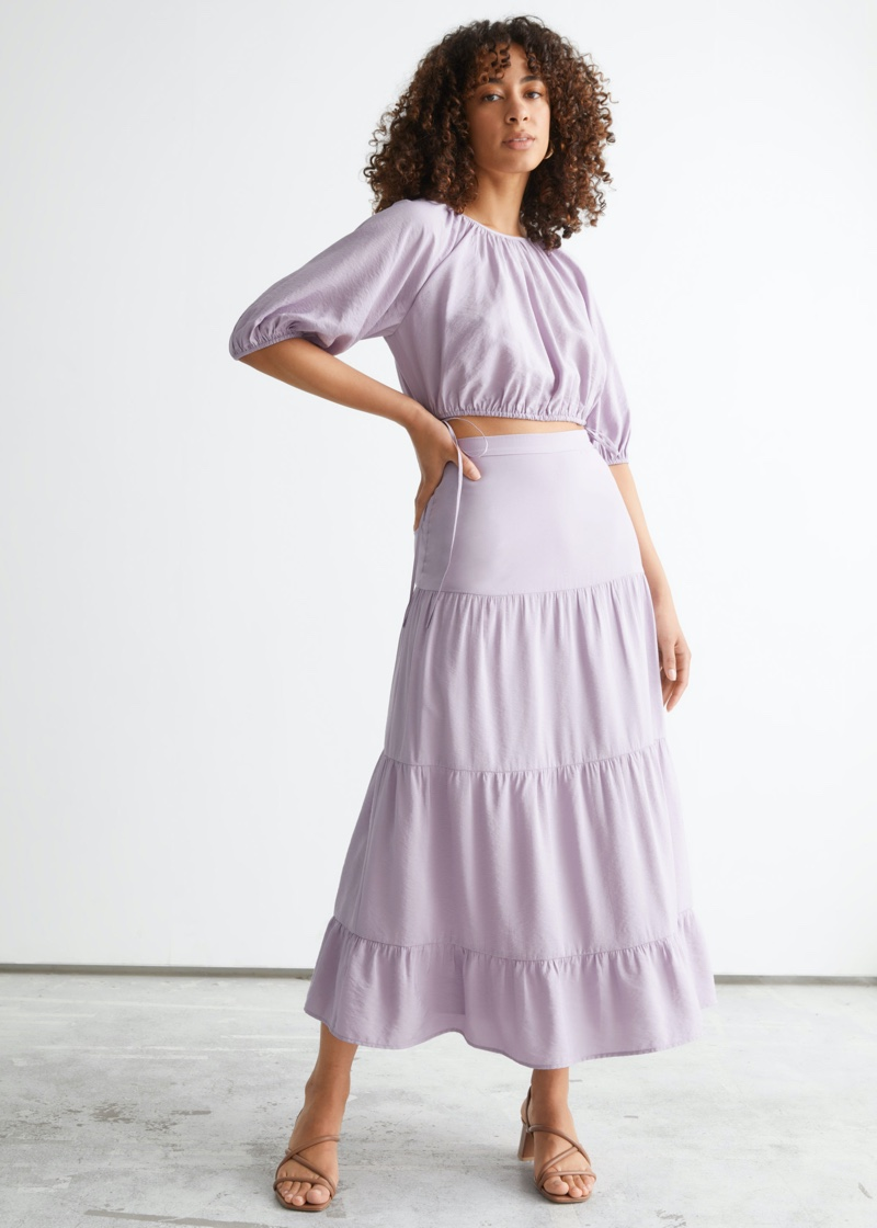& Other Stories Voluminous Puff Sleeve Top $69 and Tiered Midi Skirt $89