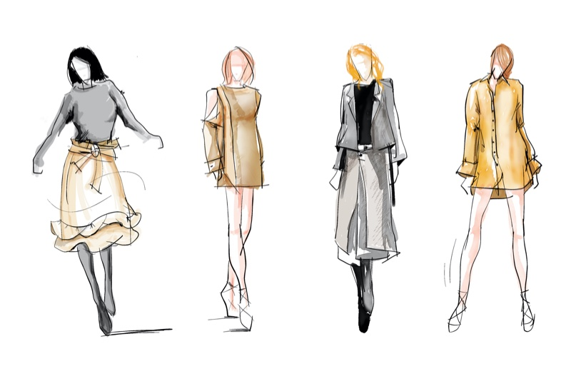 Fashion Boundary Capsule Collection Sketches Illustrations