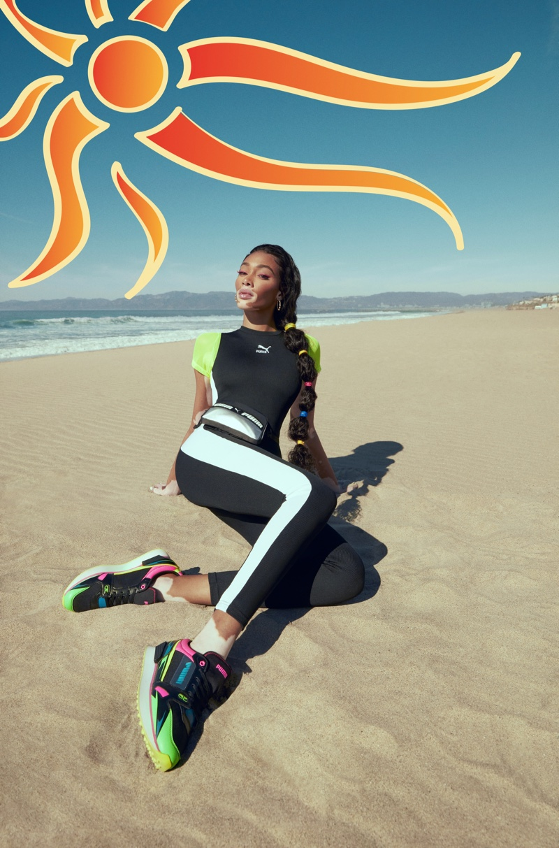 Model Winnie Harlow fronts PUMA Mile Rider sneaker campaign.