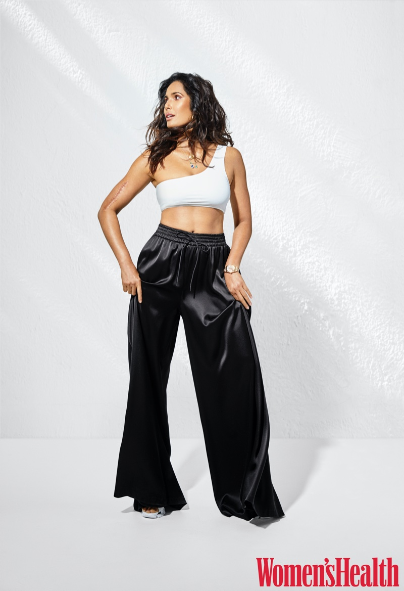 Padma Lakshmi poses in a monochromatic ensemble.